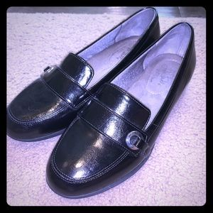 Patent Leather Loafers With Silver Buckle